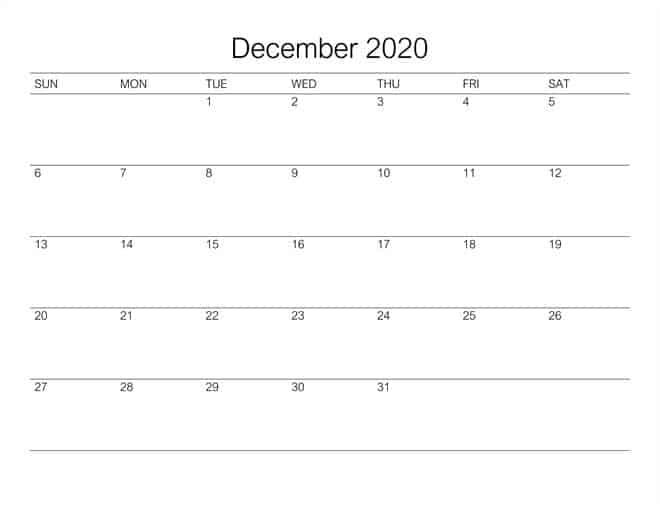 December 2020 Calendar Template For Kids