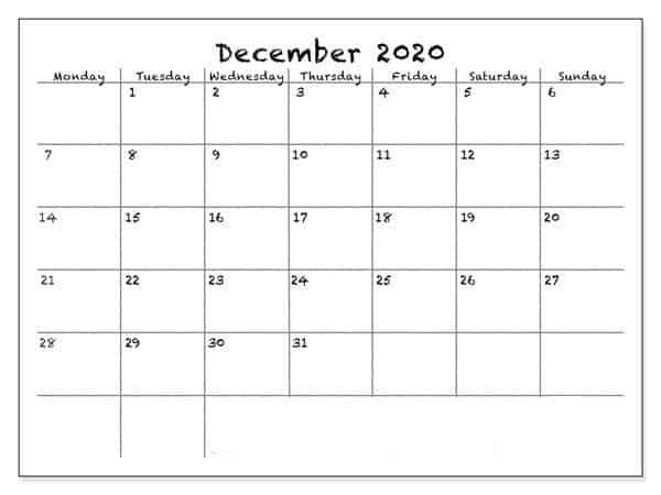 December 2020 Calendar Template Free