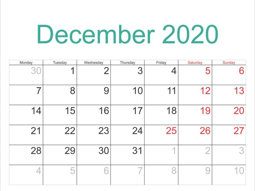 December 2020 Calendar Template With Holidays