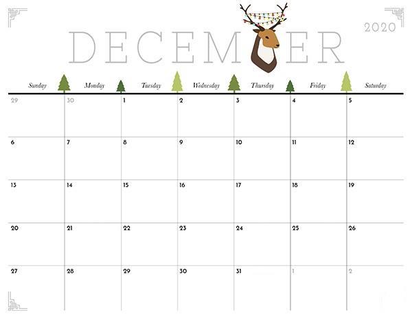 December 2020 Calendar Template