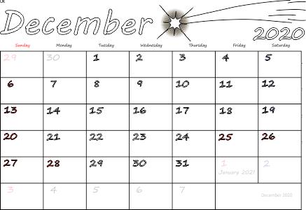 December 2020 Calendar With Holidays free