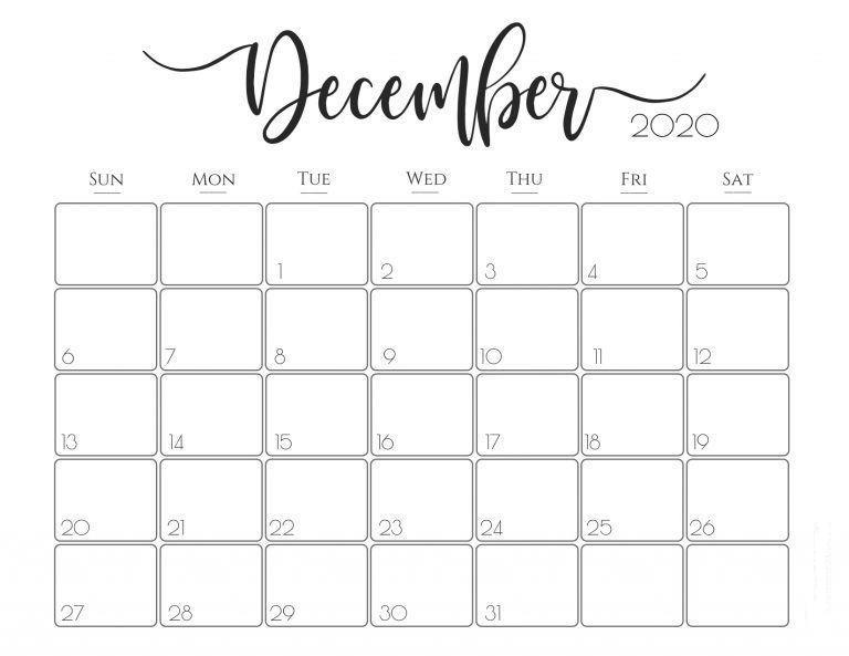 December 2020 Monthly Calendar Free