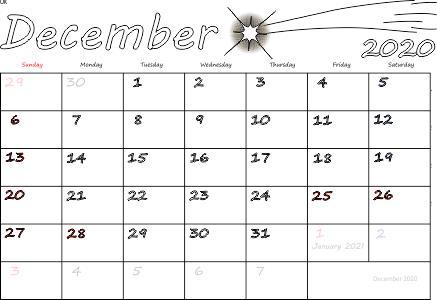 December 2020 Monthly Calendar template