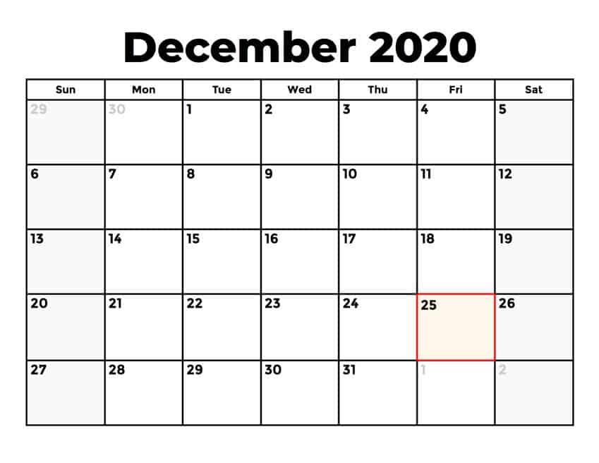 December Calendar 2020 Excel downlaod