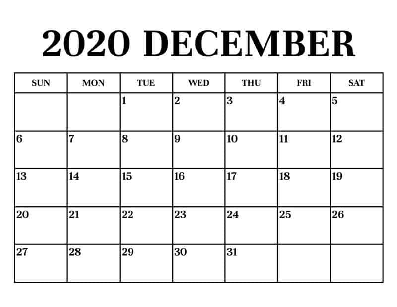 December Calendar 2020 Excel free