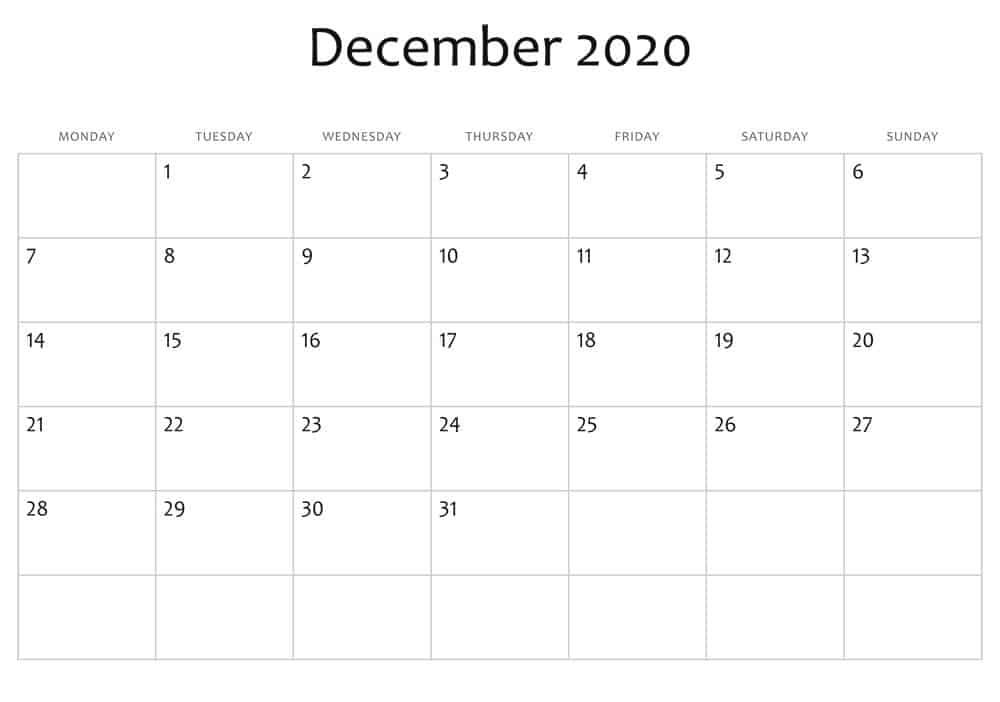 December Calendar 2020 Excel print