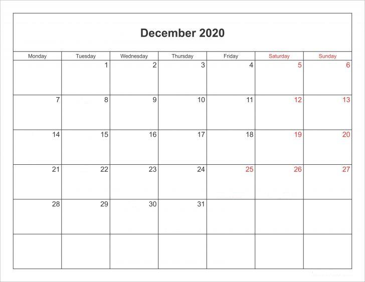 December Calendar 2020 Monthly