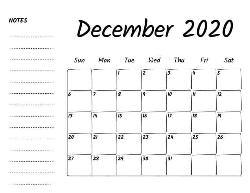 December Calendar 2020 Template download