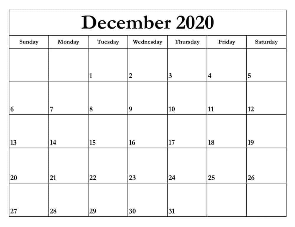 December Calendar 2020 Template free