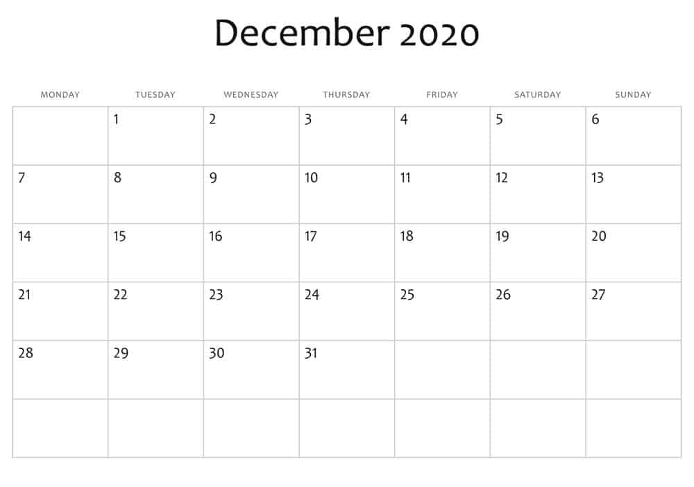 December Calendar 2020 With Holidays 1