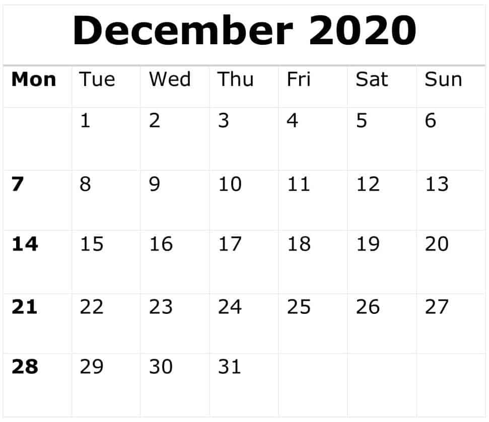 December Calendar 2020 With Holidays