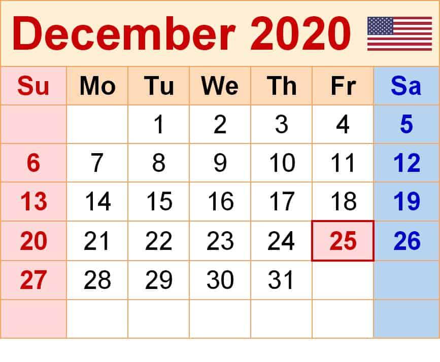 December Printable 2020 Calendar free