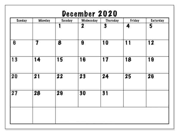 December Printable 2020 Calendar