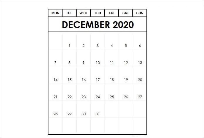 Download December 2020 Calendar Template