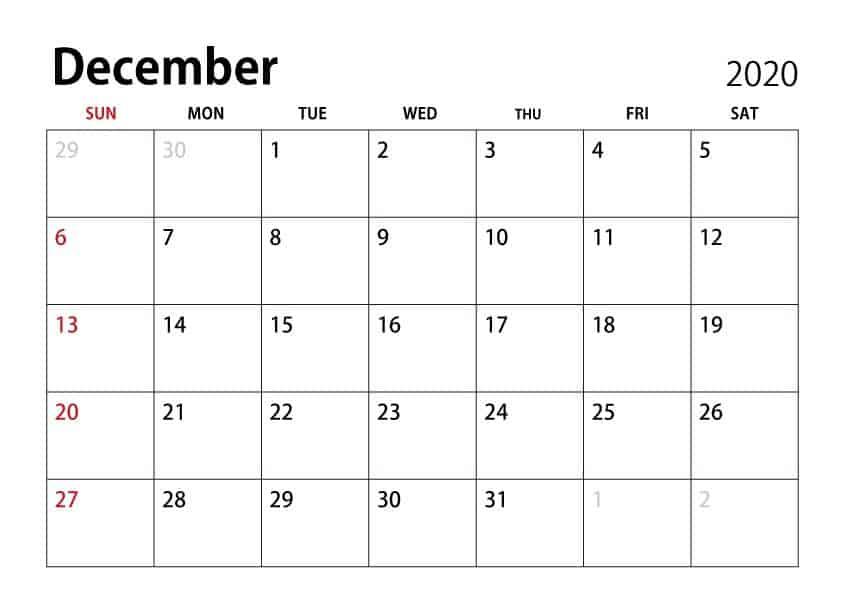 Excel December 2020 Calendar free