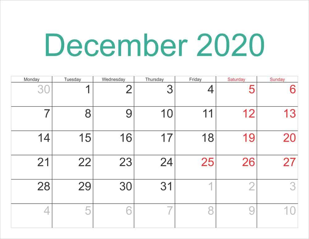 Free Calendar For December 2020