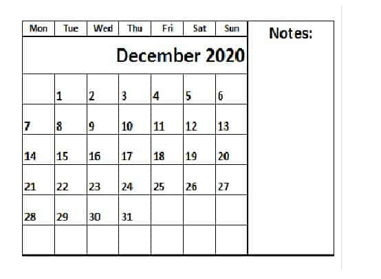 Free Printable 2020 Calendar December
