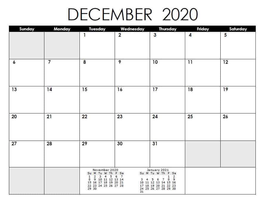 Holidays December 2020 Calendar