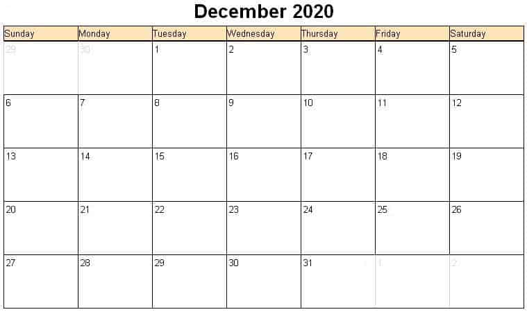 Holoday December 2020 calendar