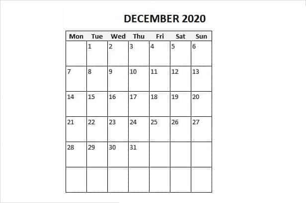 Monthly December calendar 2020