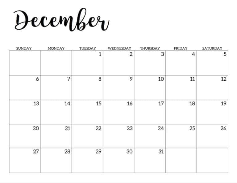 Printable Calendar 2020 December
