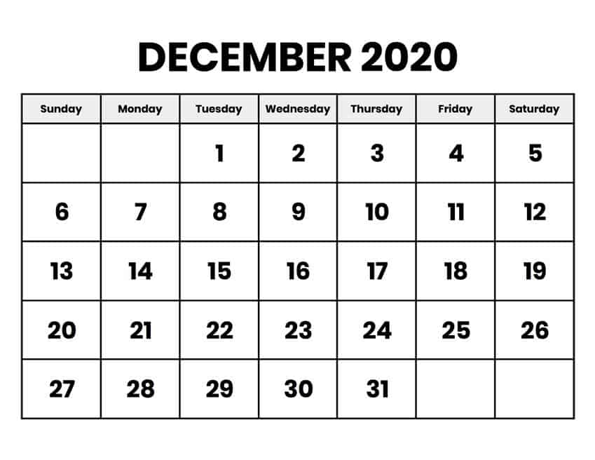 Printable Calendar December 2020 Print free