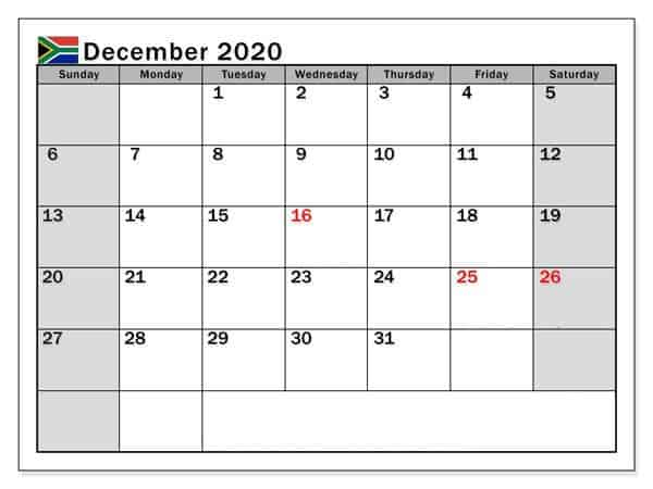 Printable Calendar December 2020 Print