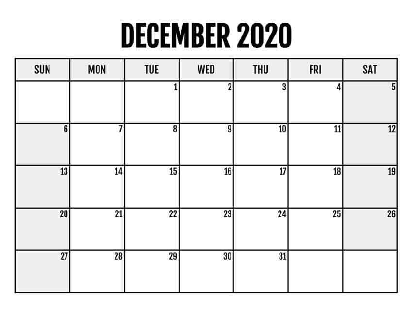 Printable Calendar For December 2020 download