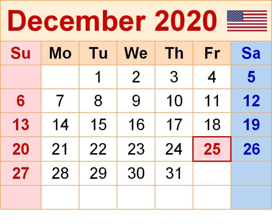 Printable Calendar For December 2020
