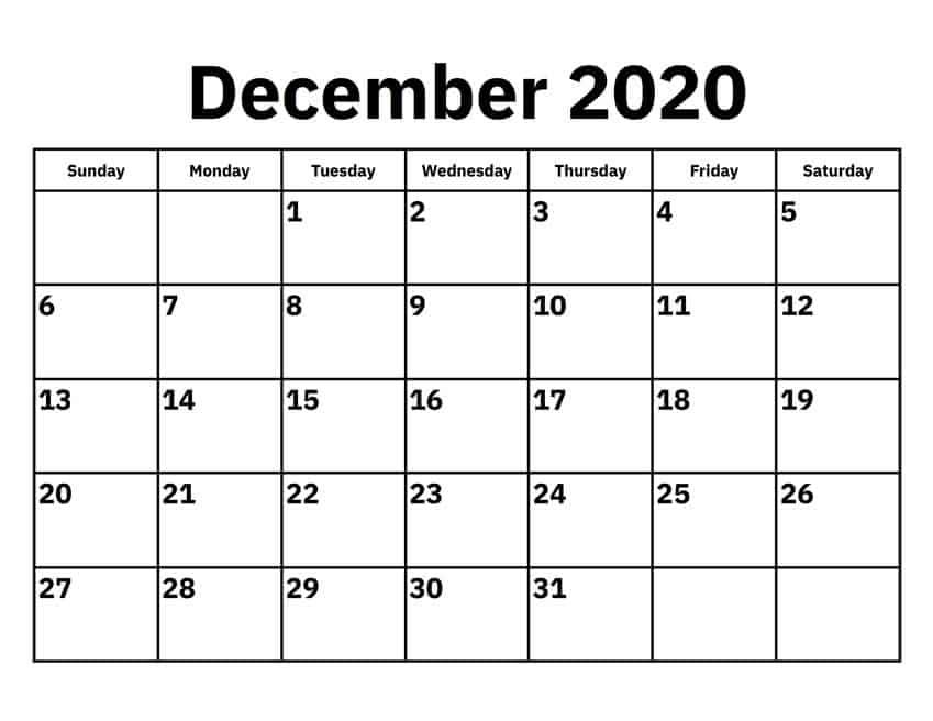 Printable December 2020 Calendar Excel