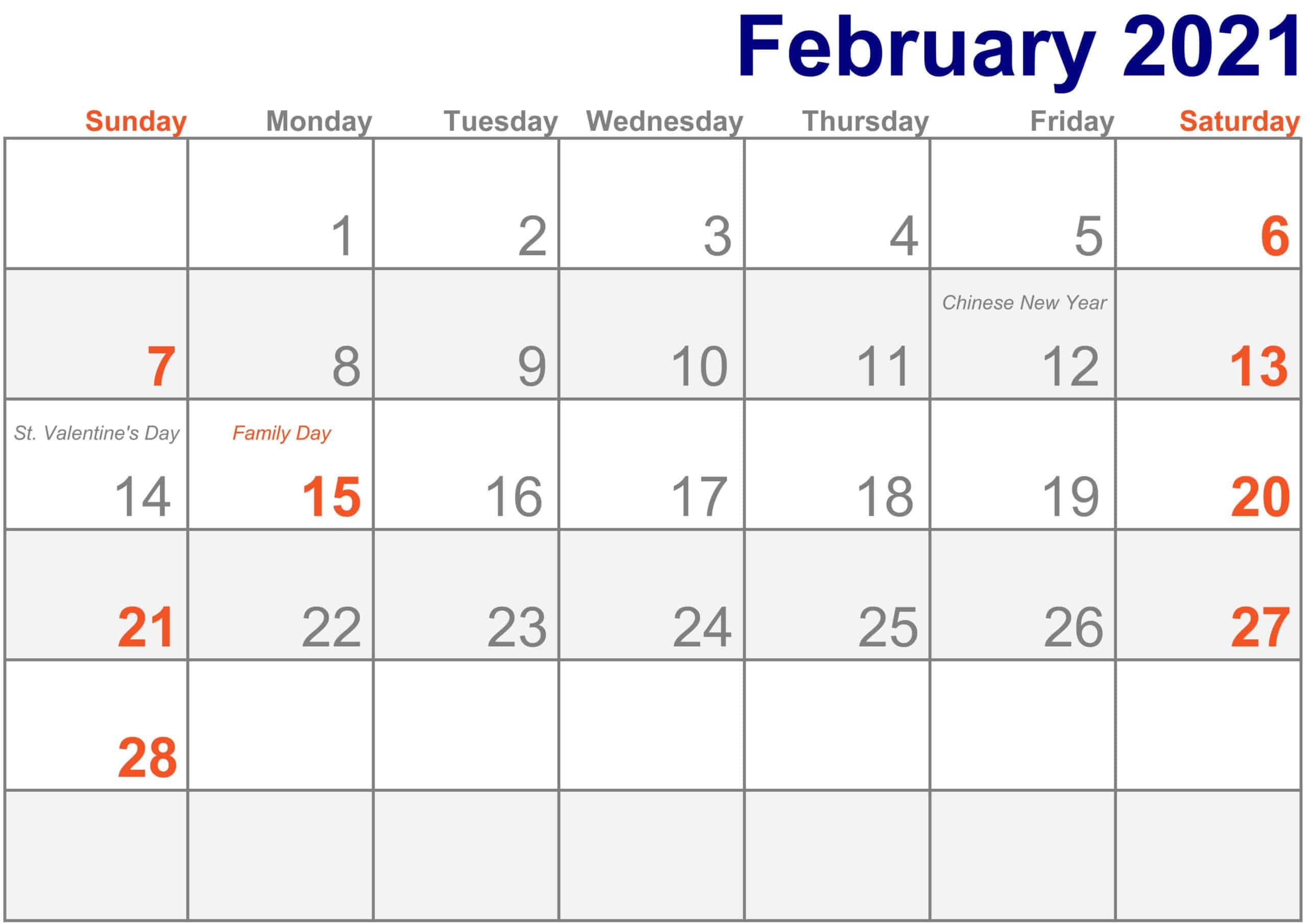 2021 February Calendar Printable