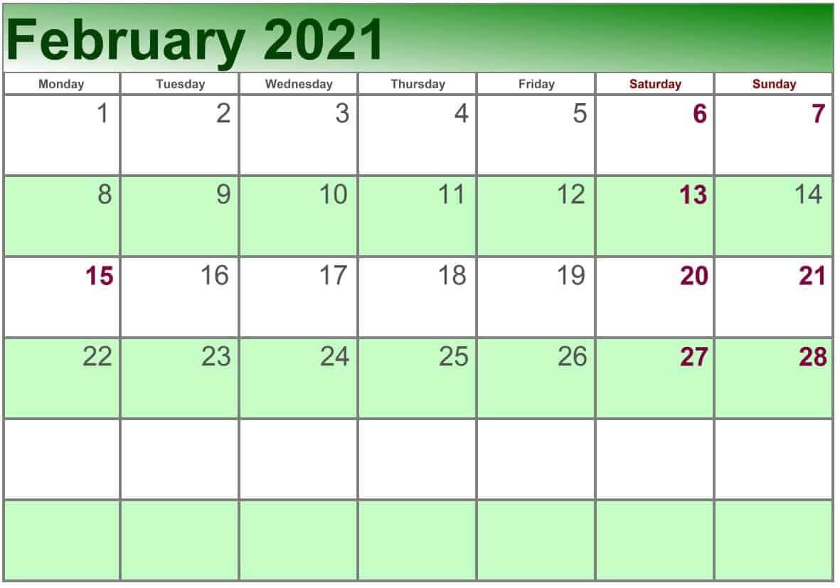 2021 February printable calendar