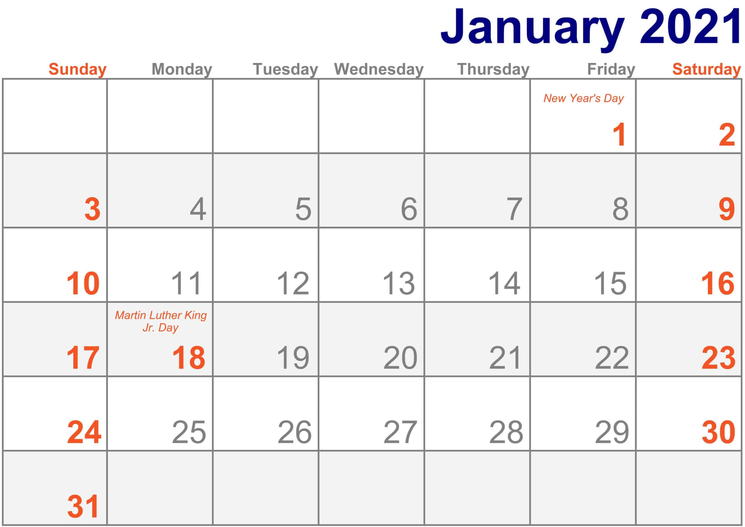 2021 January Calendar Excel