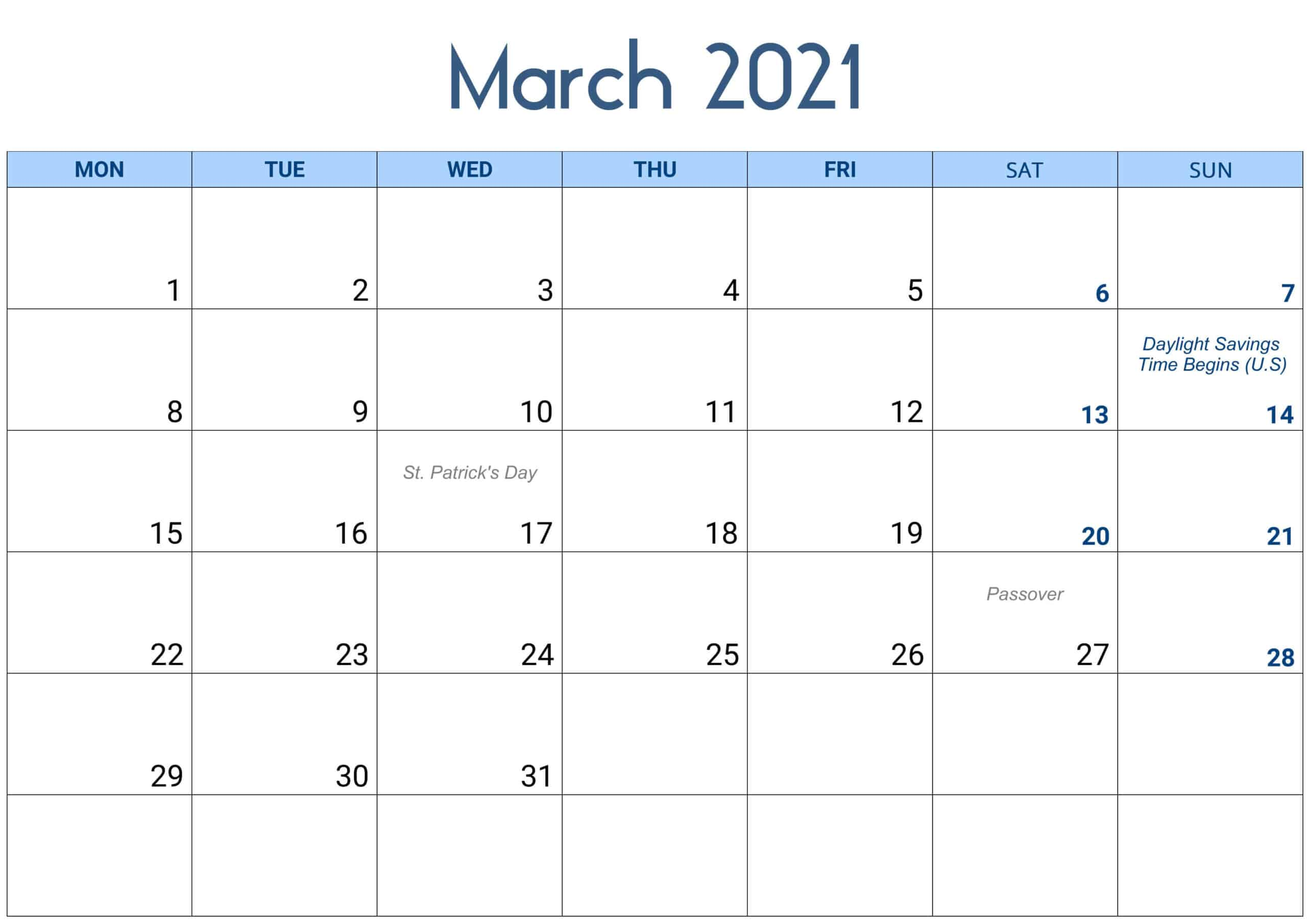 2021 March Calendar With Holidays