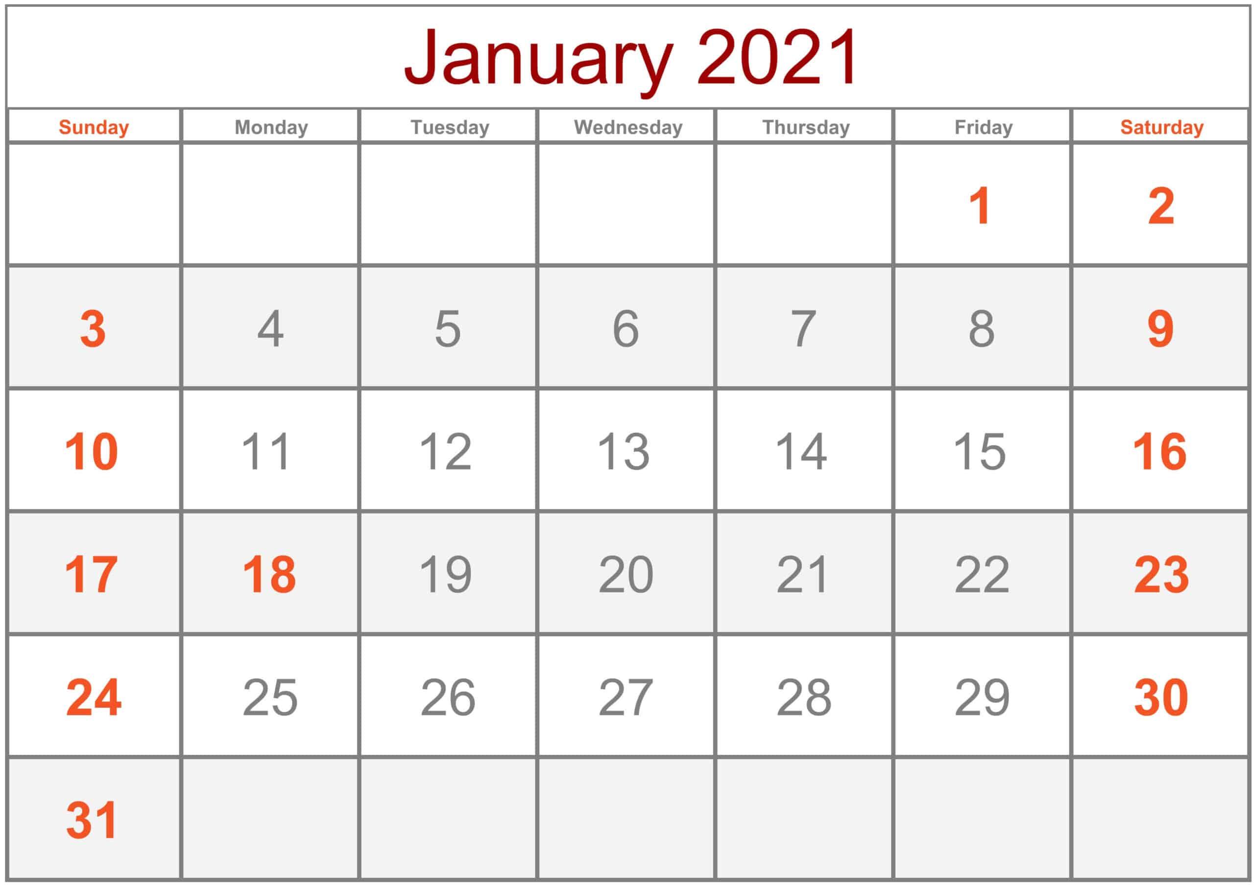 Calendar January 2021 Excel
