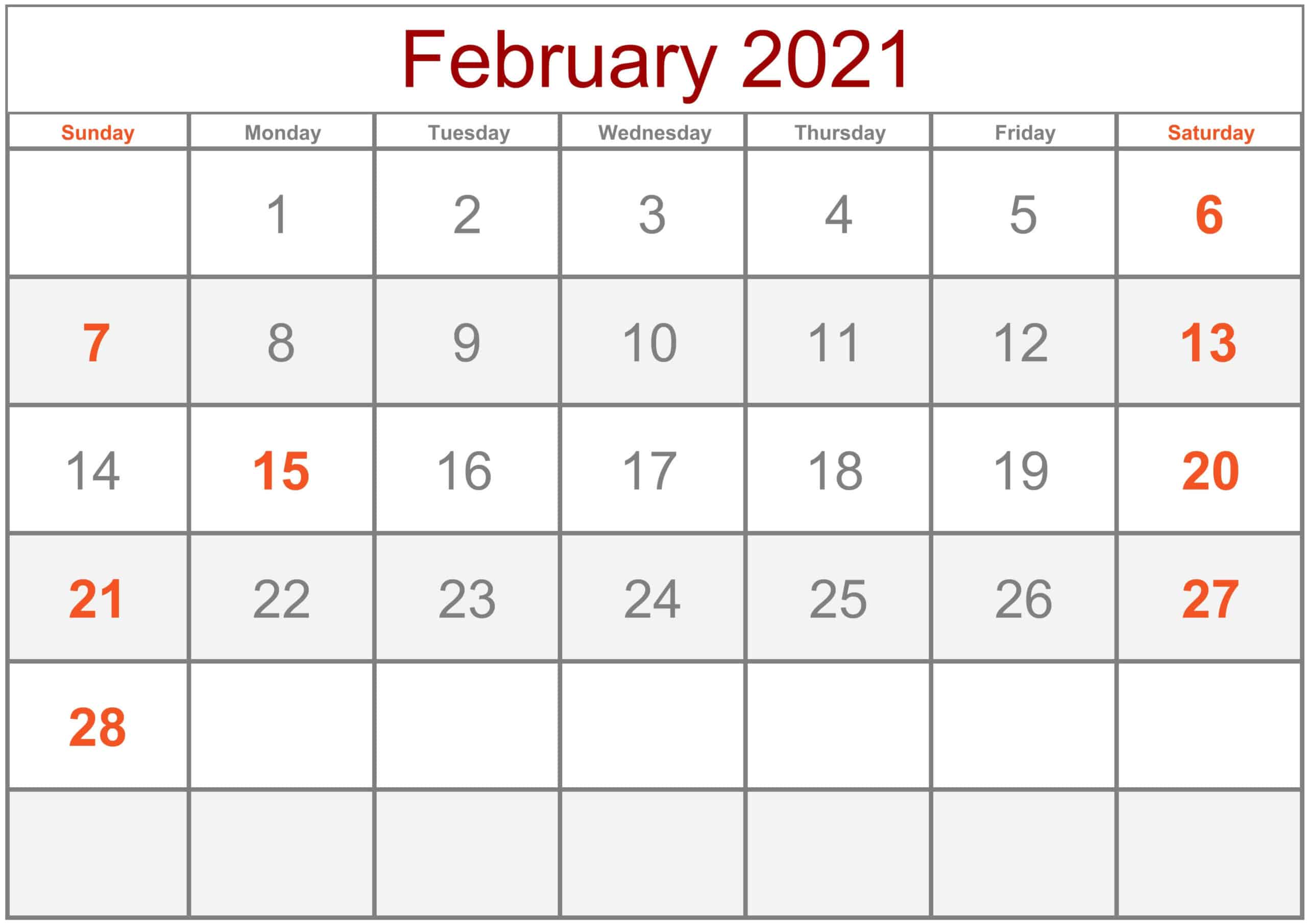 Cute February 2021 Calendar Printable