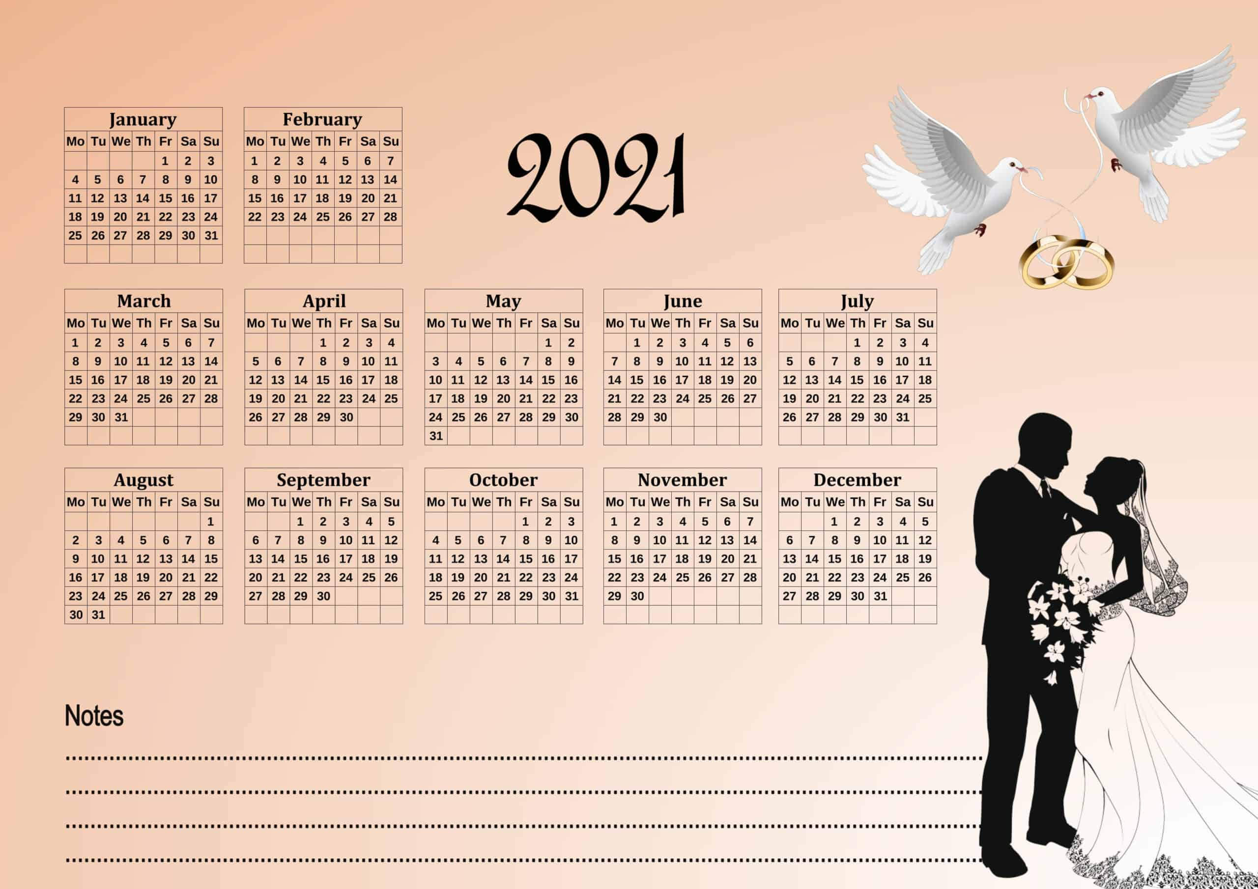 Cute calendar 2021 with notes