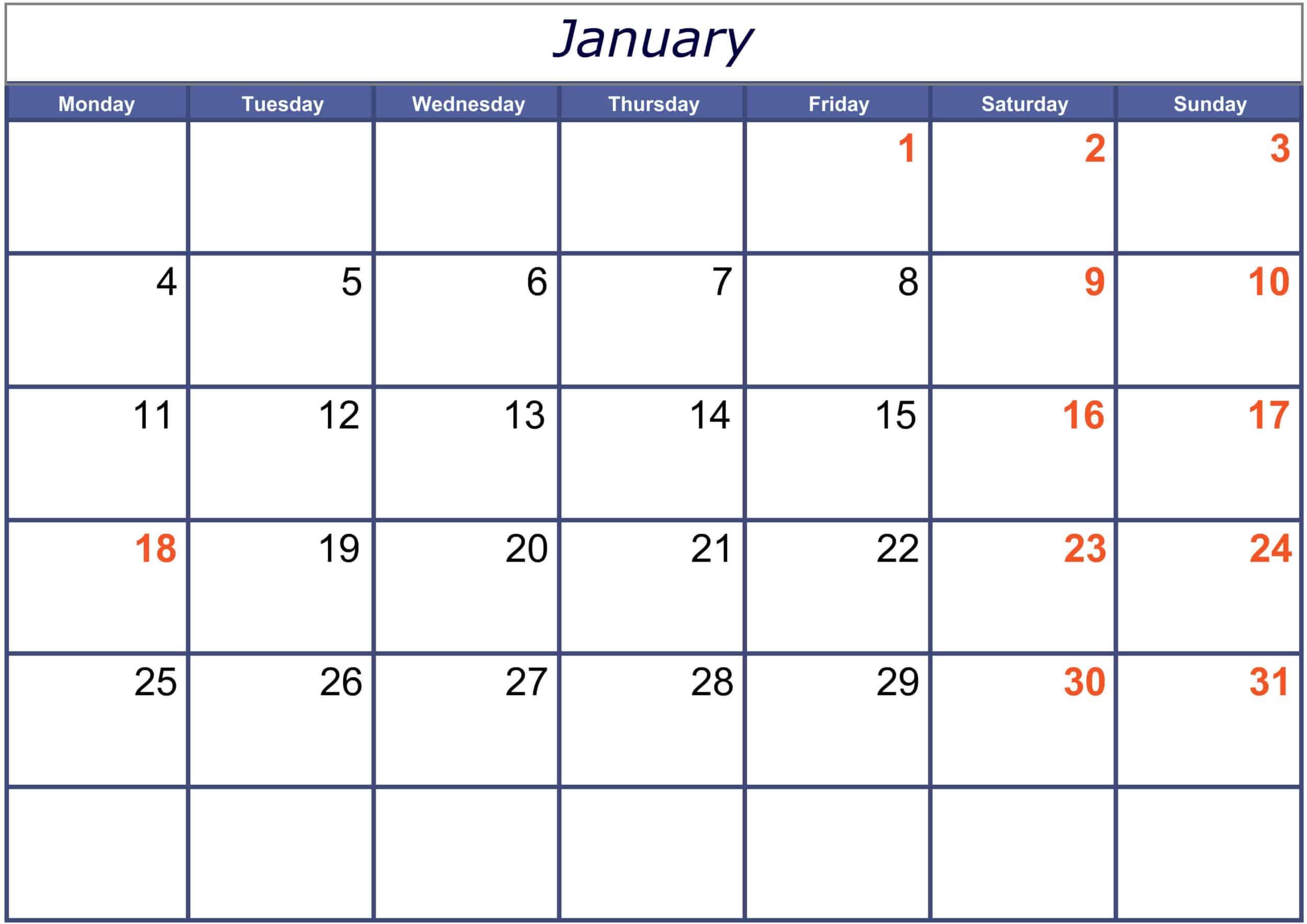 Excel January 2021 Calendar