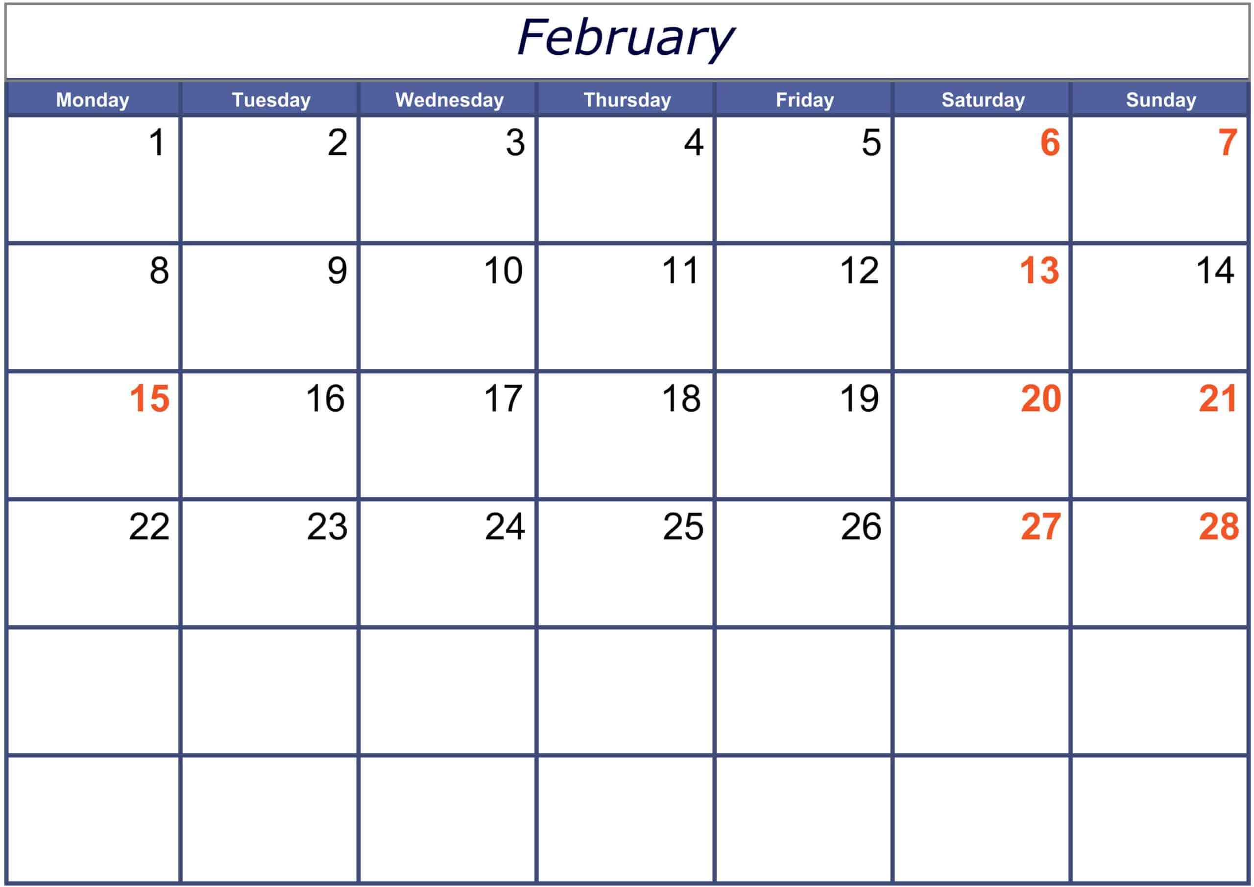 February 2021 Calendar Printable For Kids