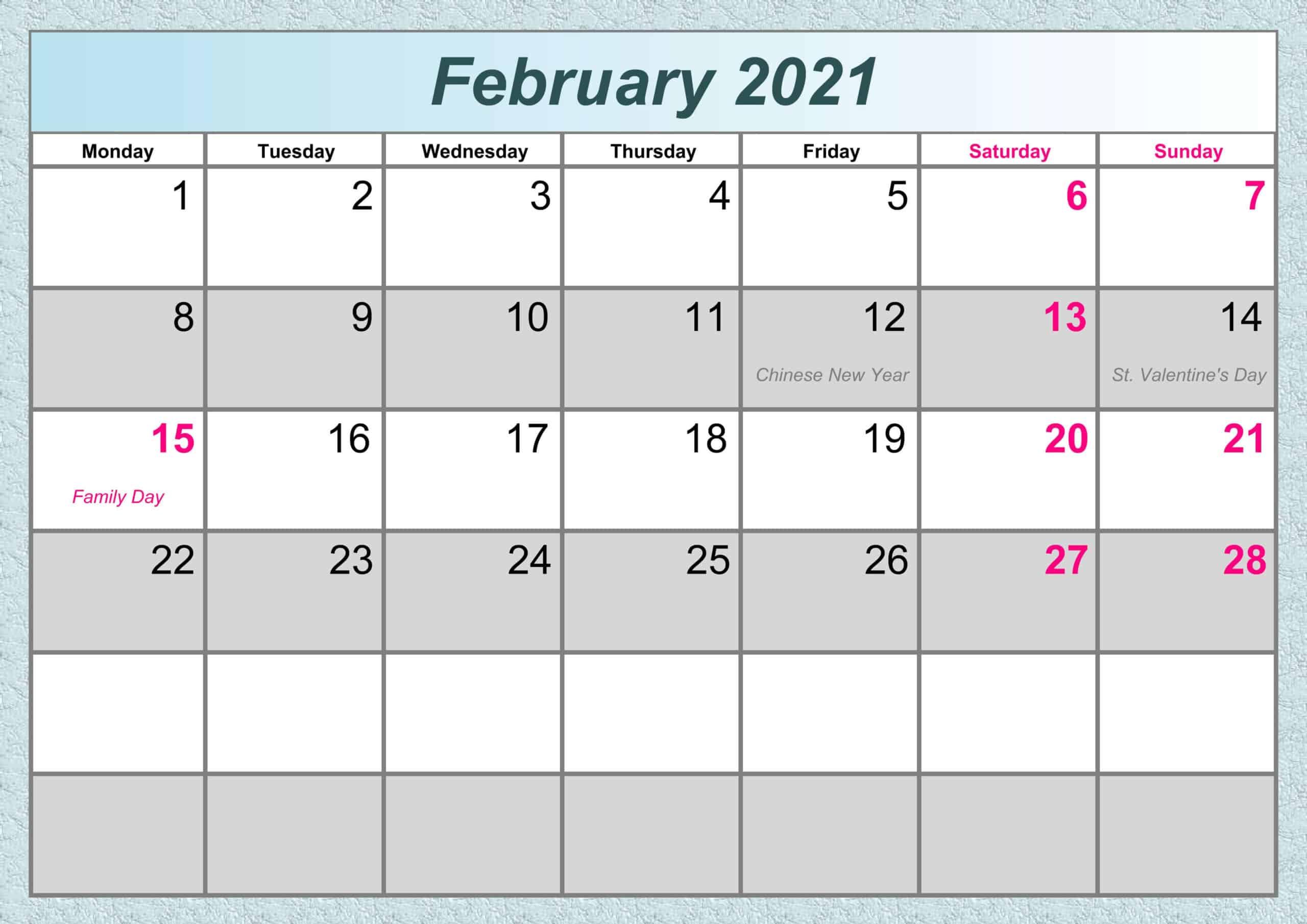 February Printable 2021 Calendar free