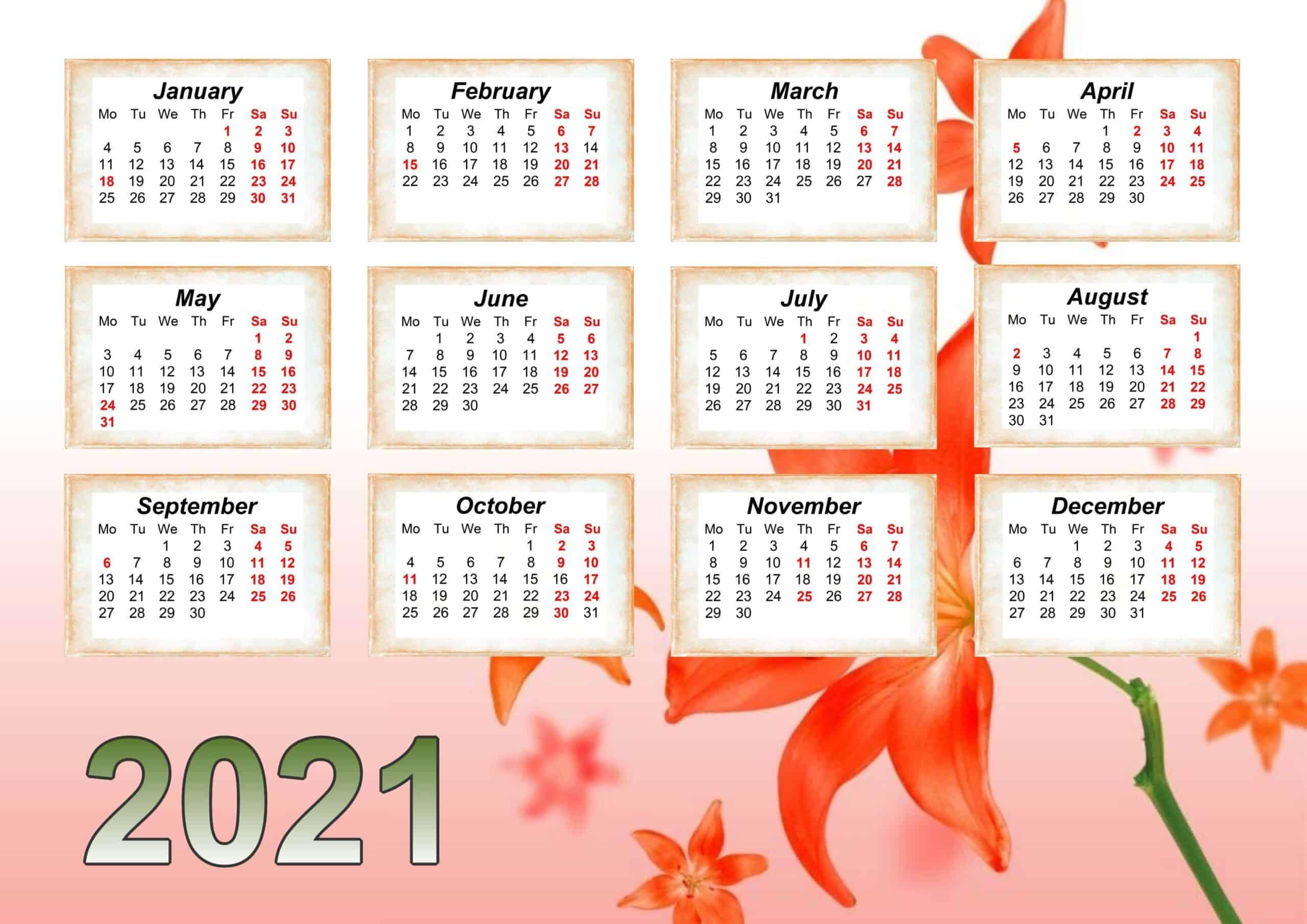 Floral Calendar 2021 wall calendar