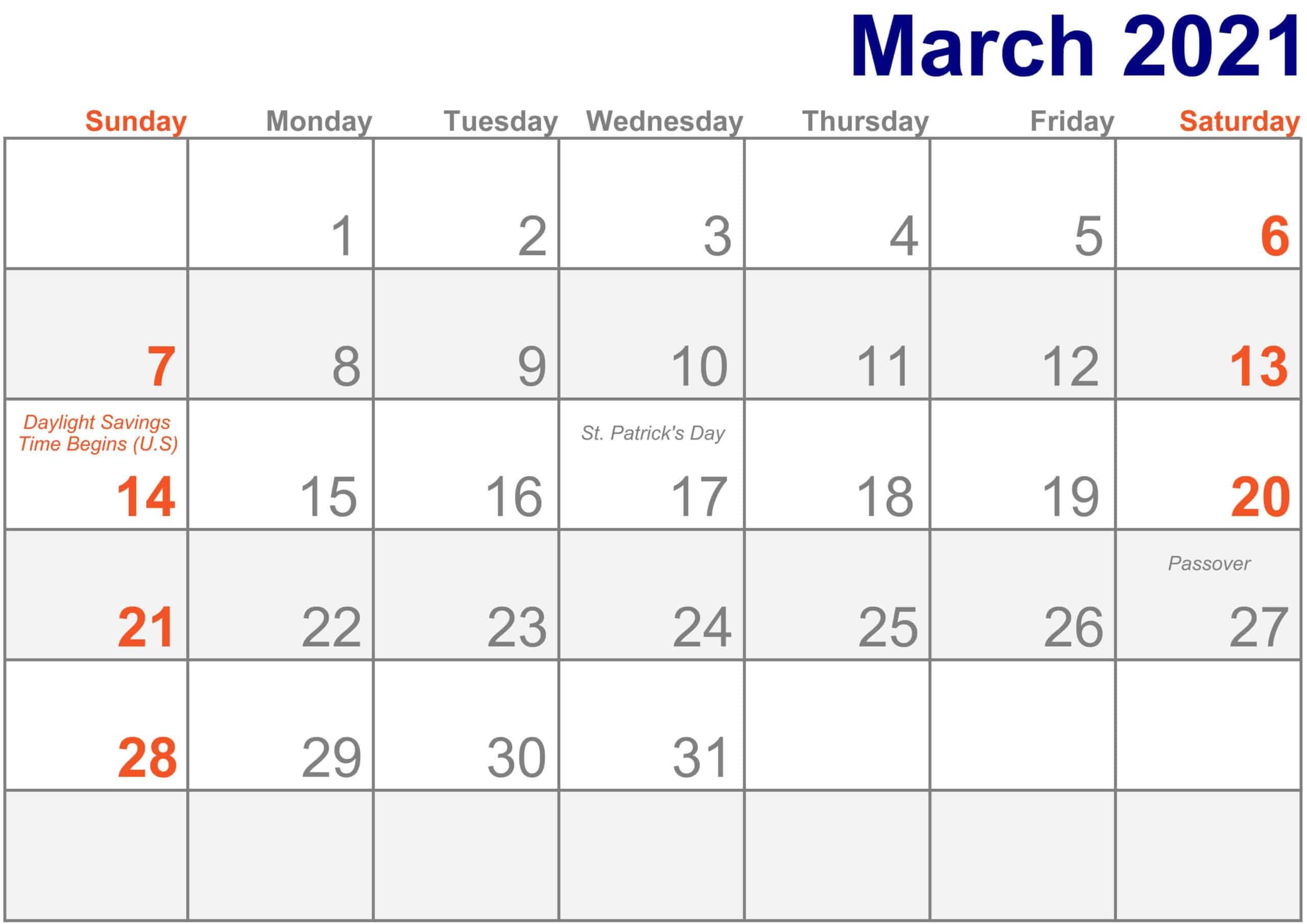 Holidays March 2021 Calendar