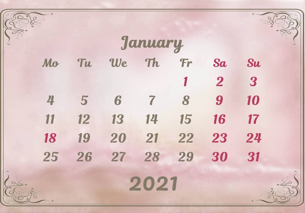 January Calendar 2021 Excel downlaod