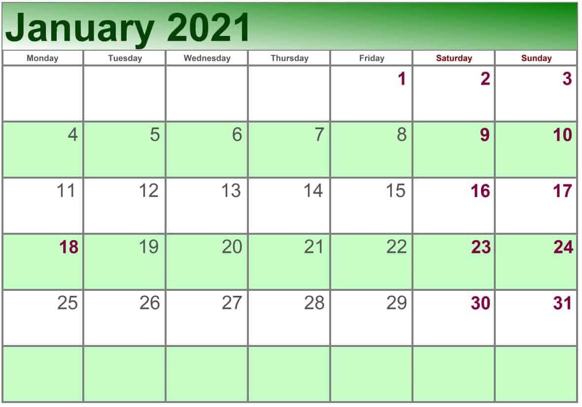 January Calendar 2021 Excel print