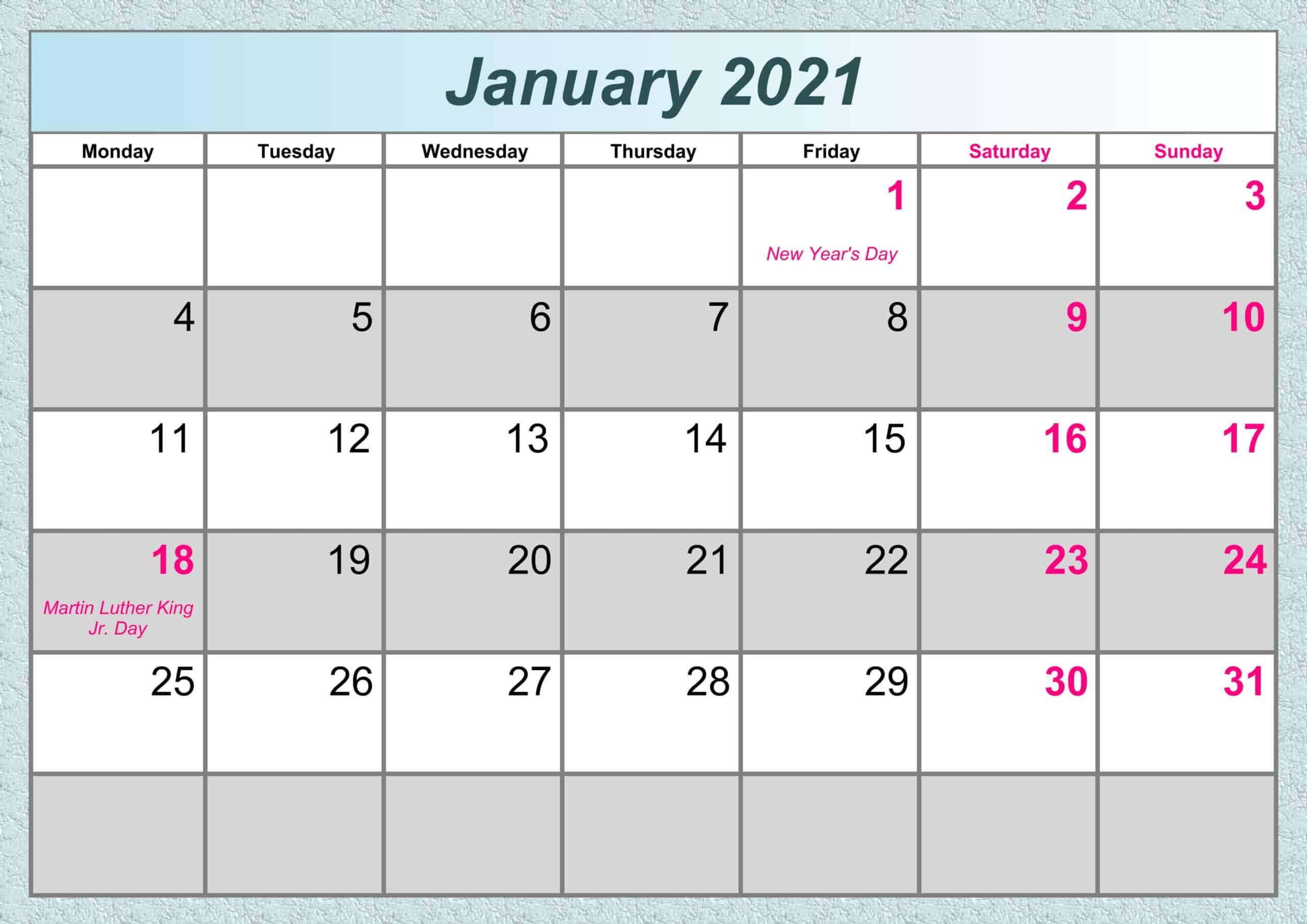 January Calendar 2021 Excel