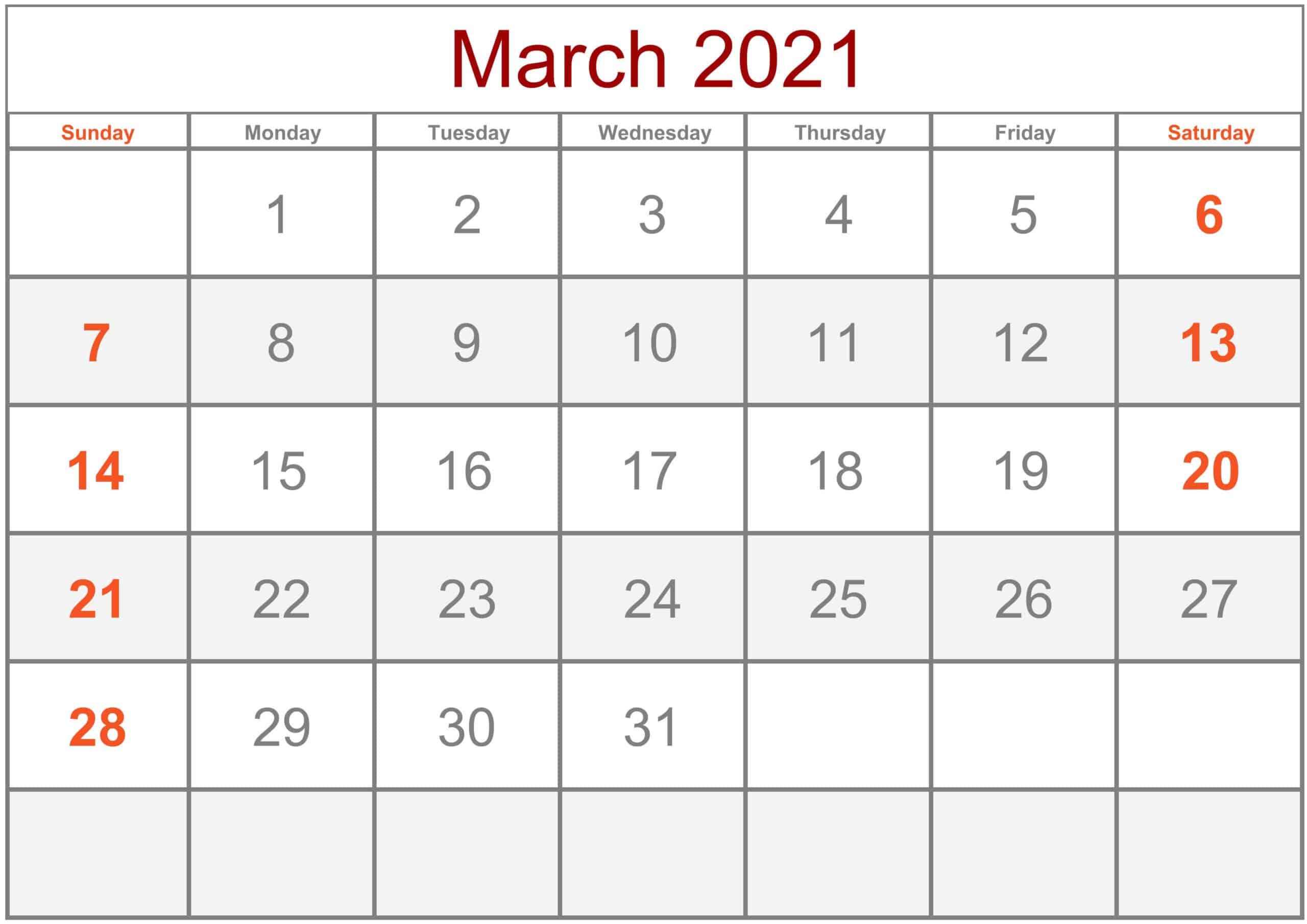 March 2021 Calendar Holidays
