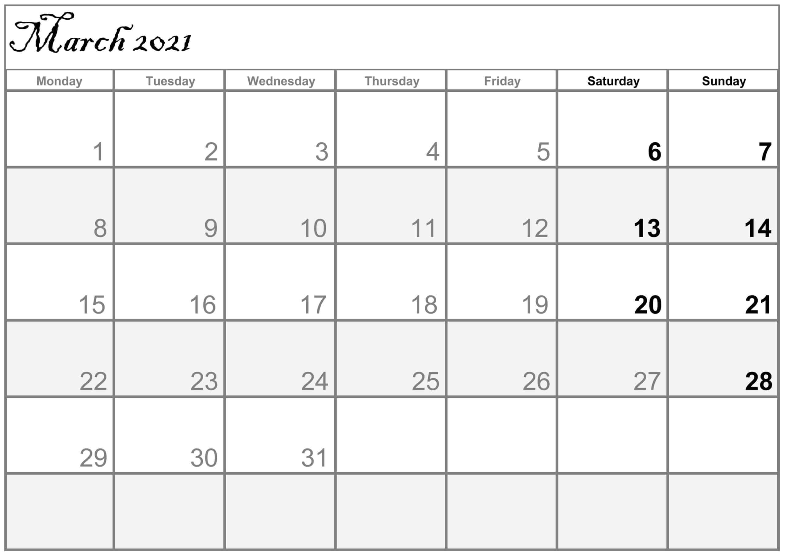 March 2021 Calendar With Holidays Layout