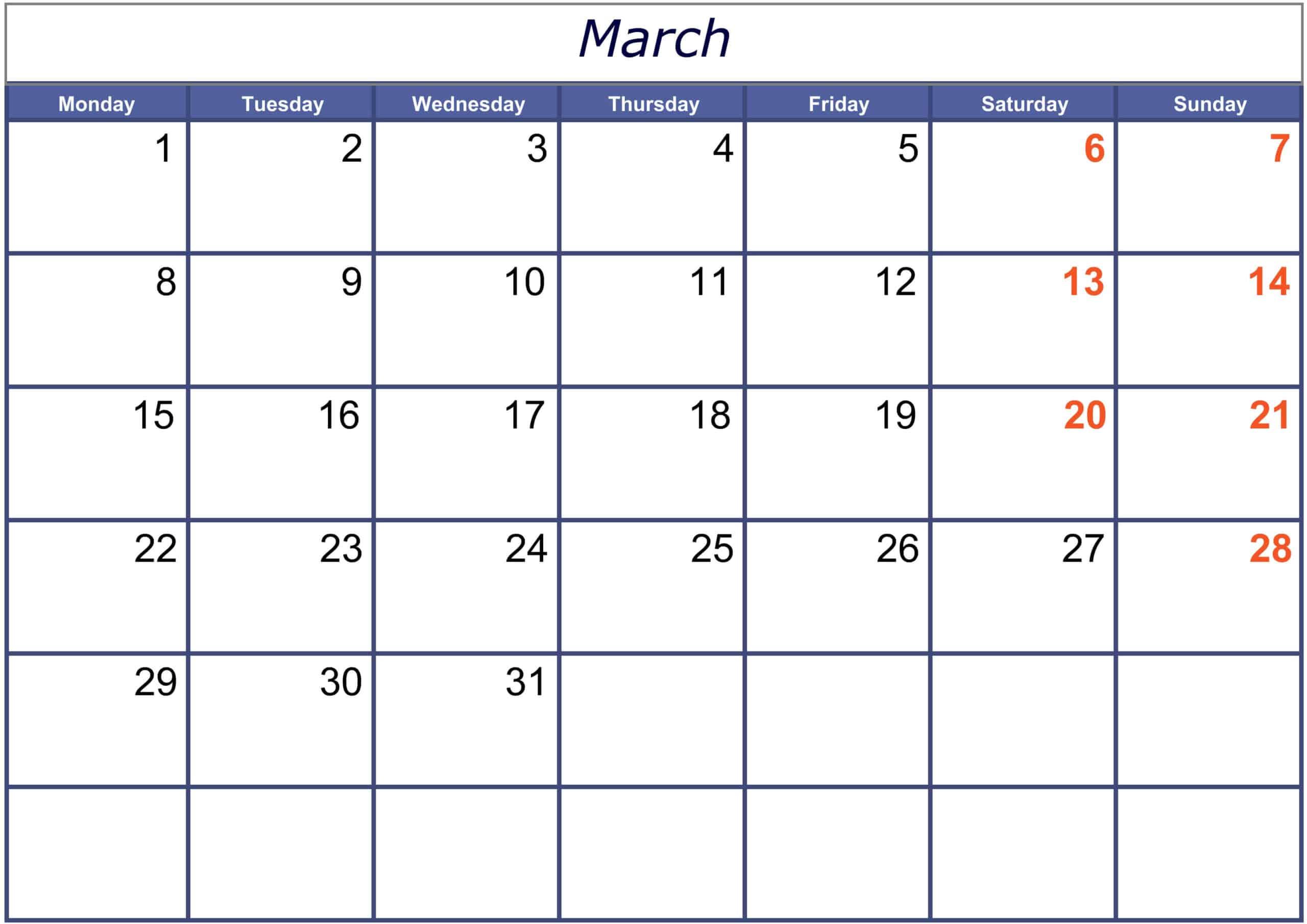March 2021 Calendar With Holidays USA