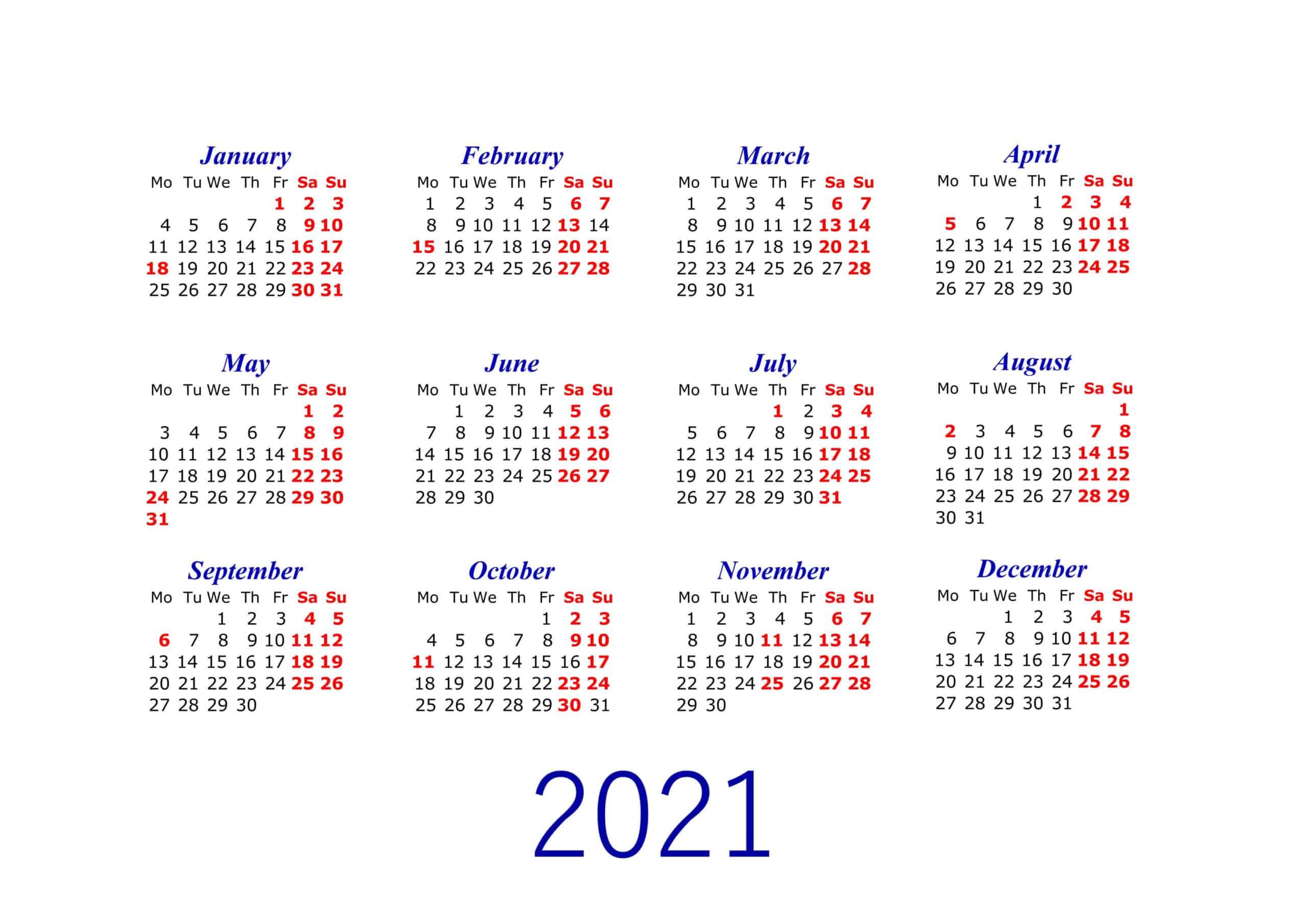 Simple Calendar 2021 printable
