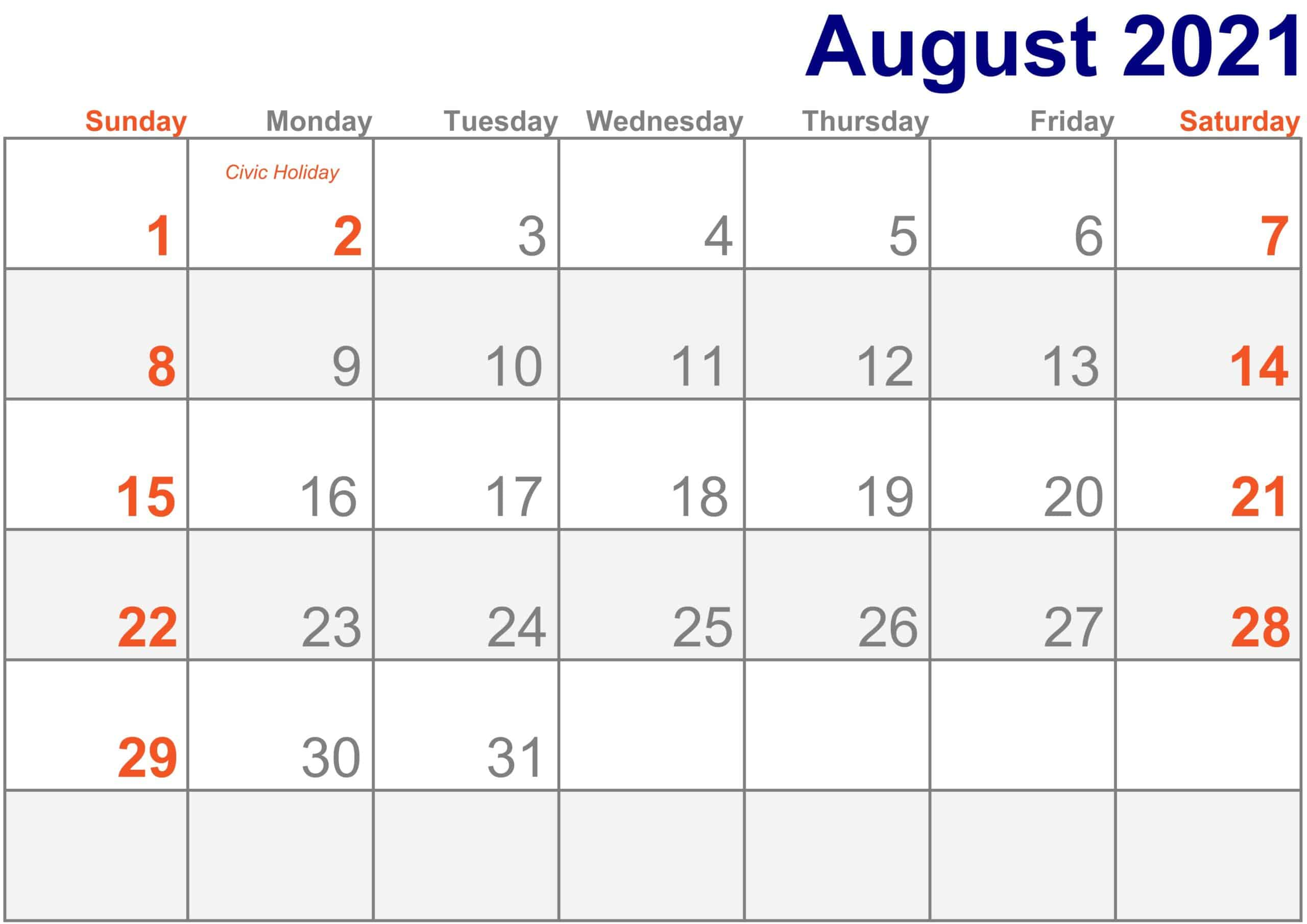 2021 August Calendar Excel